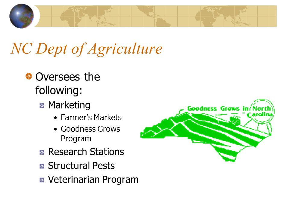 NC Dept of Agriculture Oversees the following: All agricultural issues Weights & Standards Food & Drugs in North Carolina NC State Fair