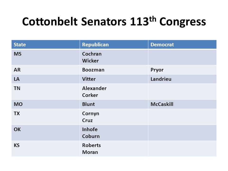 Cottonbelt Senators 113 th Congress StateRepublicanDemocrat MSCochran Wicker ARBoozmanPryor LAVitterLandrieu TNAlexander Corker MOBluntMcCaskill TXCor