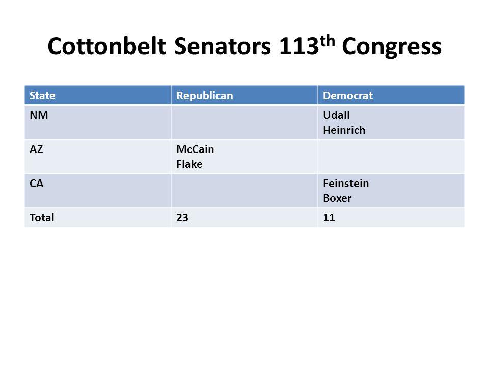 Cottonbelt Senators 113 th Congress StateRepublicanDemocrat NMUdall Heinrich AZMcCain Flake CAFeinstein Boxer Total2311