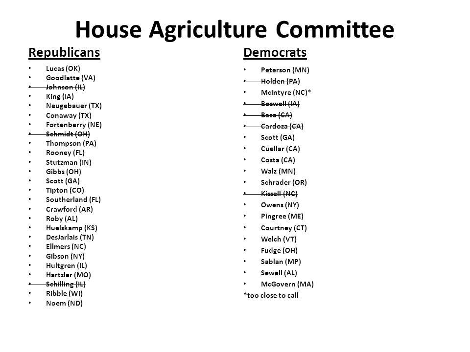House Agriculture Committee Republicans Lucas (OK) Goodlatte (VA) Johnson (IL) King (IA) Neugebauer (TX) Conaway (TX) Fortenberry (NE) Schmidt (OH) Th