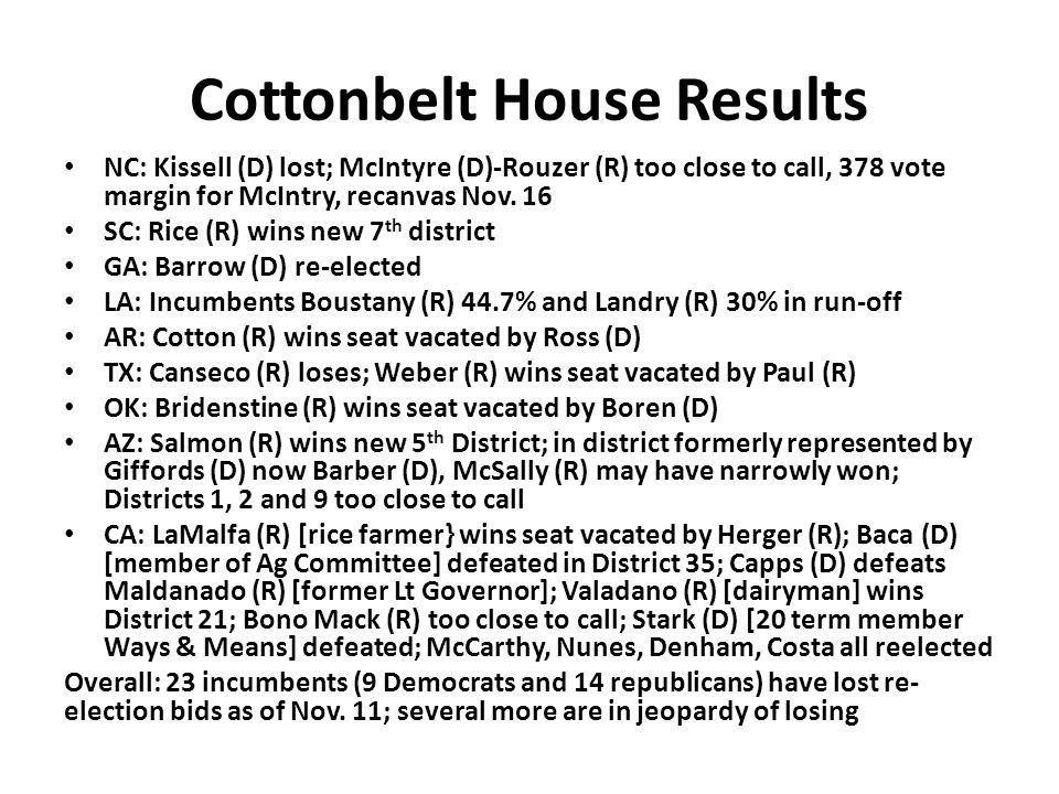 Cottonbelt House Results NC: Kissell (D) lost; McIntyre (D)-Rouzer (R) too close to call, 378 vote margin for McIntry, recanvas Nov.