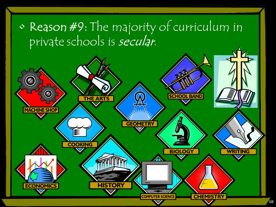 Reason #9: The majority of curriculum in private schools is secular. 18
