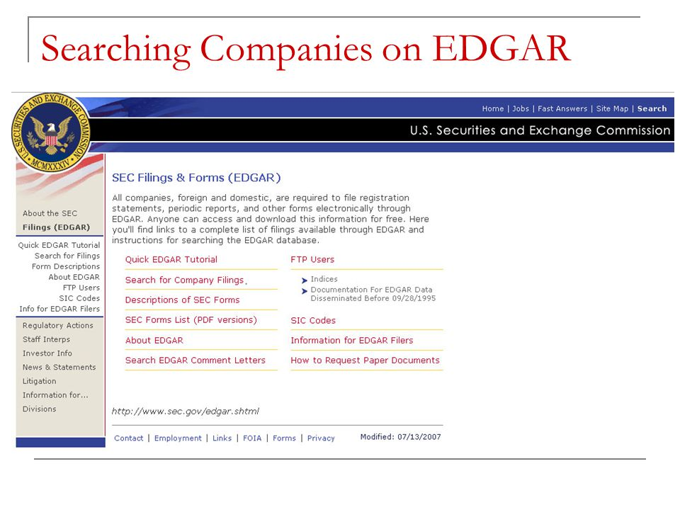 Searching Companies on EDGAR