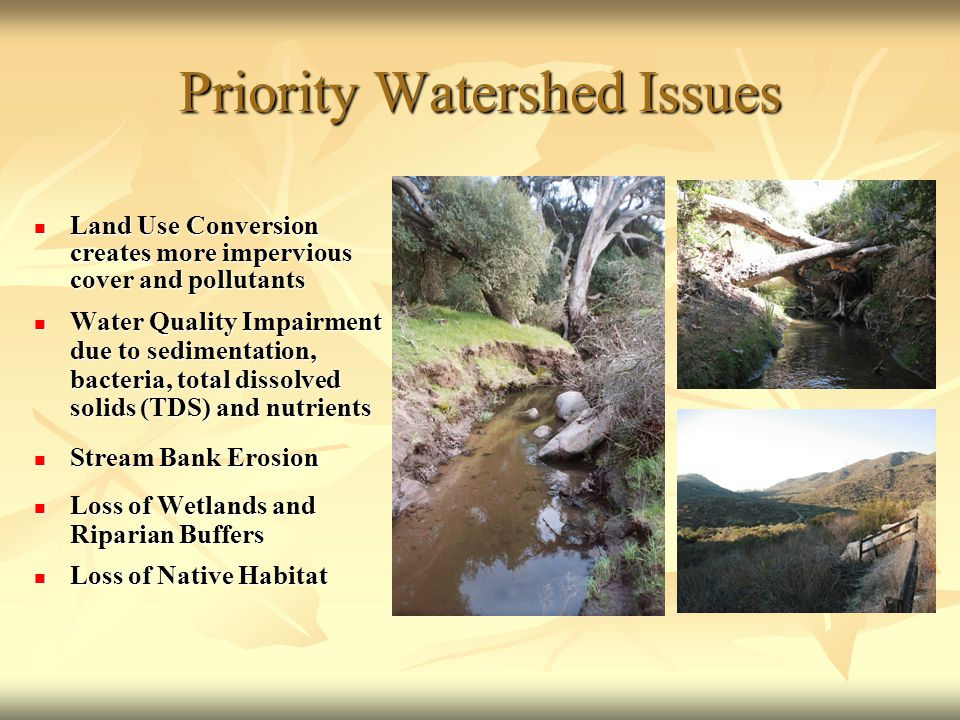 Priority Watershed Issues Land Use Conversion creates more impervious cover and pollutants Land Use Conversion creates more impervious cover and pollutants Water Quality Impairment due to sedimentation, bacteria, total dissolved solids (TDS) and nutrients Water Quality Impairment due to sedimentation, bacteria, total dissolved solids (TDS) and nutrients Stream Bank Erosion Stream Bank Erosion Loss of Wetlands and Riparian Buffers Loss of Wetlands and Riparian Buffers Loss of Native Habitat Loss of Native Habitat