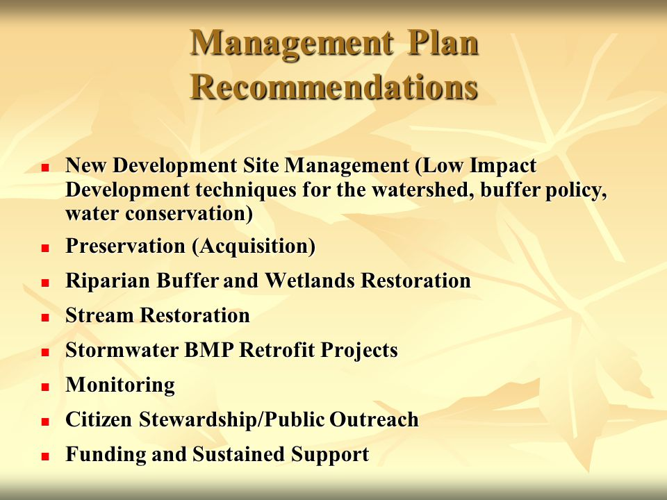 Management Plan Recommendations New Development Site Management (Low Impact Development techniques for the watershed, buffer policy, water conservation) New Development Site Management (Low Impact Development techniques for the watershed, buffer policy, water conservation) Preservation (Acquisition) Preservation (Acquisition) Riparian Buffer and Wetlands Restoration Riparian Buffer and Wetlands Restoration Stream Restoration Stream Restoration Stormwater BMP Retrofit Projects Stormwater BMP Retrofit Projects Monitoring Monitoring Citizen Stewardship/Public Outreach Citizen Stewardship/Public Outreach Funding and Sustained Support Funding and Sustained Support