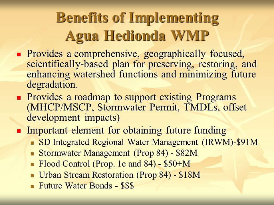 Benefits of Implementing Agua Hedionda WMP Provides a comprehensive, geographically focused, scientifically-based plan for preserving, restoring, and enhancing watershed functions and minimizing future degradation.