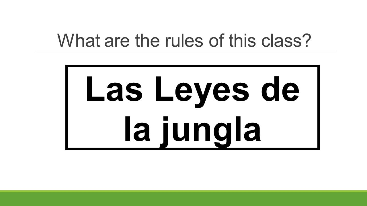 What are the rules of this class? Respete a los demás Sea Responsable Sea Positivo ¡Tenga cuidado!