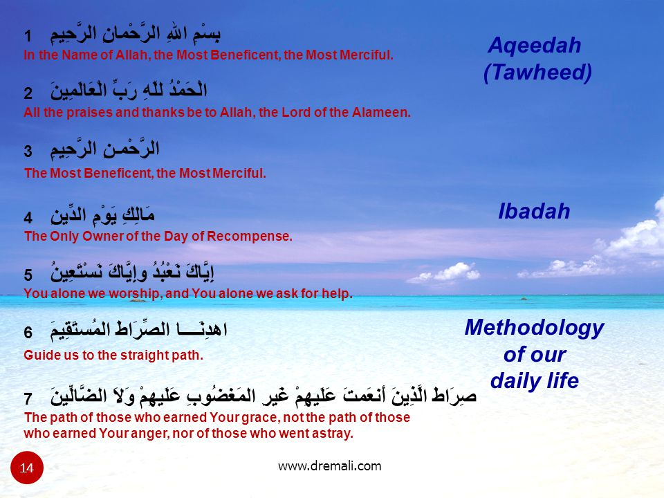 www.dremali.com Ibadah Methodology of our daily life Aqeedah (Tawheed) 1 بِسْمِ اللهِ الرَّحْمانِ الرَّحِيمِ In the Name of Allah, the Most Beneficent