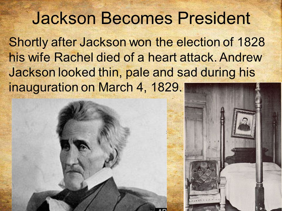 Jackson Becomes President Shortly after Jackson won the election of 1828 his wife Rachel died of a heart attack.