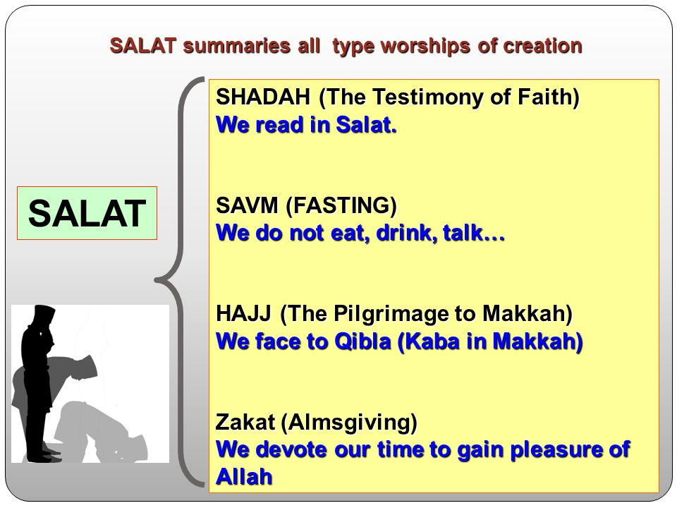 SALAT SHADAH (The Testimony of Faith) We read in Salat.