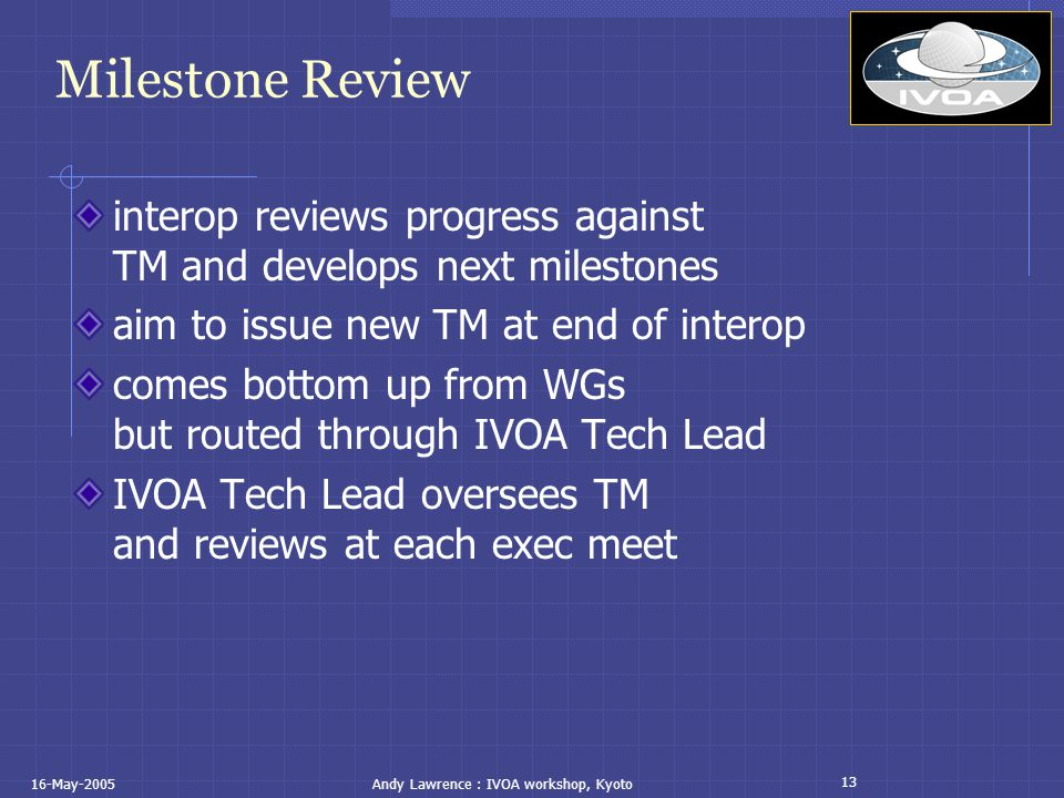 13 16-May-2005Andy Lawrence : IVOA workshop, Kyoto Milestone Review interop reviews progress against TM and develops next milestones aim to issue new TM at end of interop comes bottom up from WGs but routed through IVOA Tech Lead IVOA Tech Lead oversees TM and reviews at each exec meet