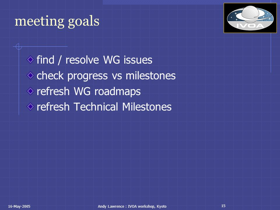 15 16-May-2005Andy Lawrence : IVOA workshop, Kyoto meeting goals find / resolve WG issues check progress vs milestones refresh WG roadmaps refresh Technical Milestones