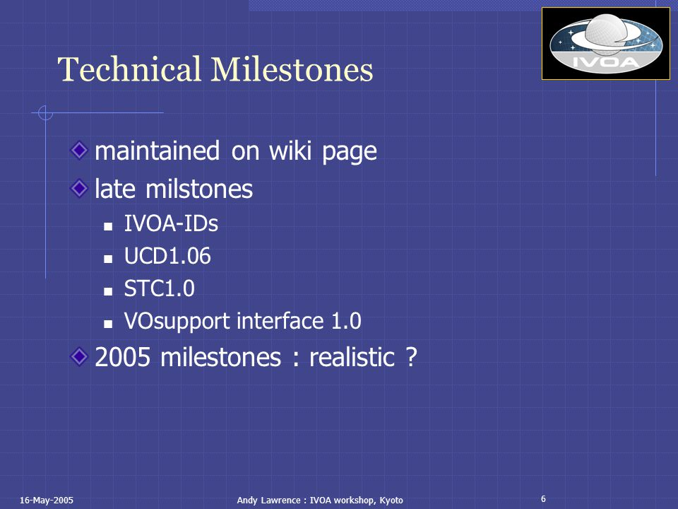 6 16-May-2005Andy Lawrence : IVOA workshop, Kyoto Technical Milestones maintained on wiki page late milstones IVOA-IDs UCD1.06 STC1.0 VOsupport interface 1.0 2005 milestones : realistic ?