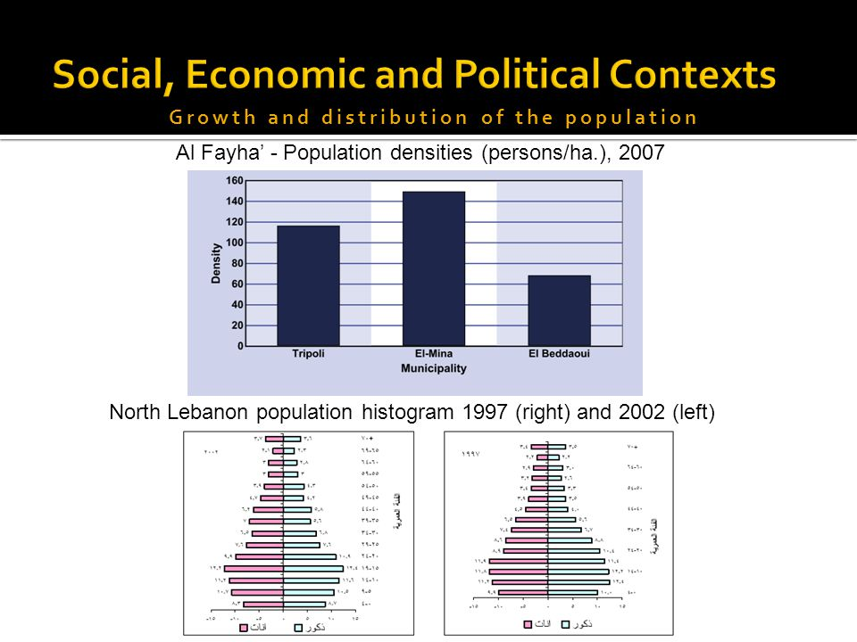 Al Fayha' - Population densities (persons/ha.), 2007 North Lebanon population histogram 1997 (right) and 2002 (left)