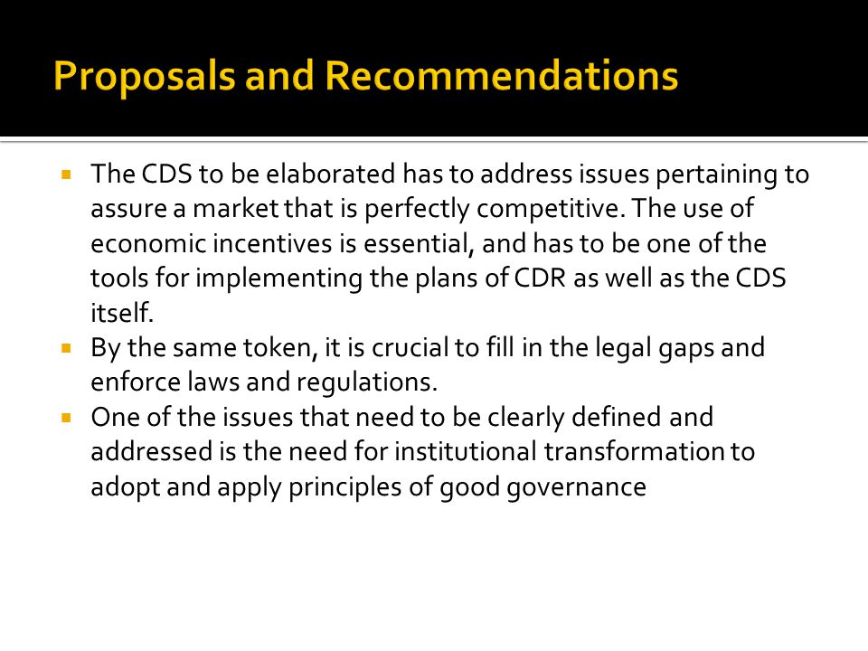  The CDS to be elaborated has to address issues pertaining to assure a market that is perfectly competitive.