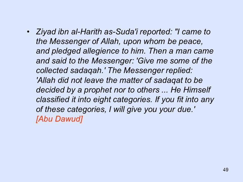 49 Ziyad ibn al-Harith as-Suda'i reported: