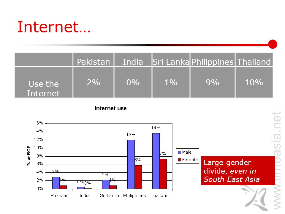 www.lirneasia.net Internet… PakistanIndiaSri LankaPhilippinesThailand Use the Internet 2%0%1%9%10% Large gender divide, even in South East Asia