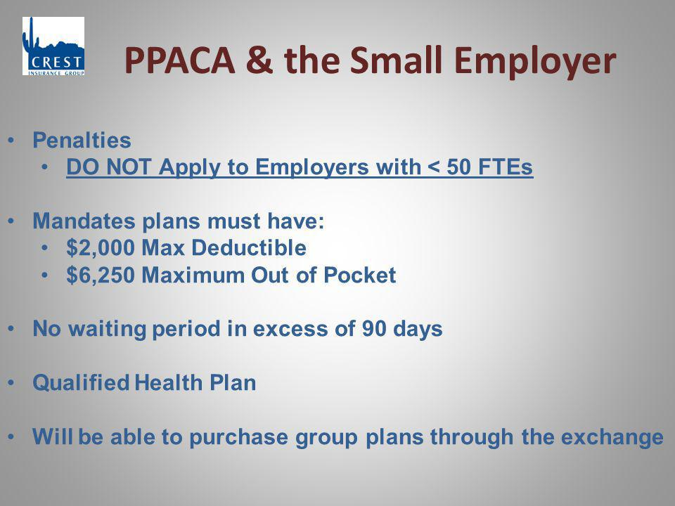 PPACA & the Small Employer Penalties DO NOT Apply to Employers with < 50 FTEs Mandates plans must have: $2,000 Max Deductible $6,250 Maximum Out of Pocket No waiting period in excess of 90 days Qualified Health Plan Will be able to purchase group plans through the exchange