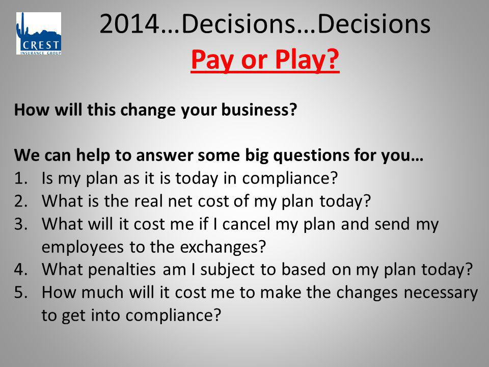 2014…Decisions…Decisions Pay or Play? How will this change your business? We can help to answer some big questions for you… 1.Is my plan as it is toda