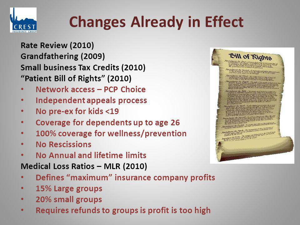 Changes Already in Effect Rate Review (2010) Grandfathering (2009) Small business Tax Credits (2010) Patient Bill of Rights (2010) Network access – PCP Choice Independent appeals process No pre-ex for kids <19 Coverage for dependents up to age 26 100% coverage for wellness/prevention No Rescissions No Annual and lifetime limits Medical Loss Ratios – MLR (2010) Defines maximum insurance company profits 15% Large groups 20% small groups Requires refunds to groups is profit is too high