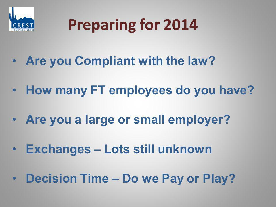 Preparing for 2014 Are you Compliant with the law? How many FT employees do you have? Are you a large or small employer? Exchanges – Lots still unknow
