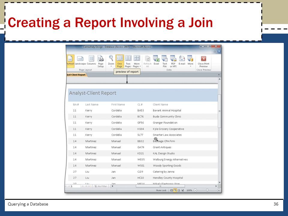 Querying a Database36 Creating a Report Involving a Join