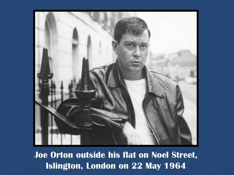 Joe Orton outside his flat on Noel Street, Islington, London on 22 May 1964