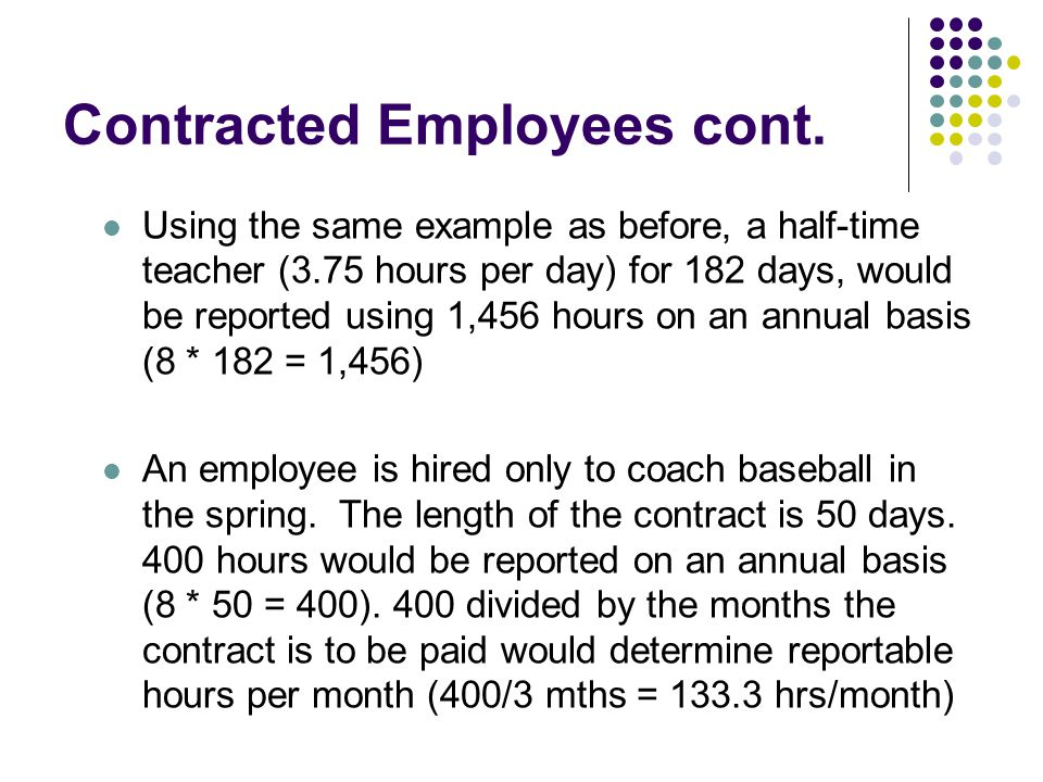 Contracted Employees cont.