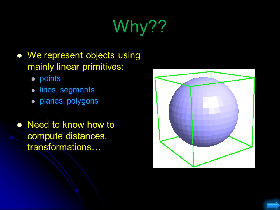 Why?? We represent objects using mainly linear primitives: points points lines, segments lines, segments planes, polygons planes, polygons Need to kno