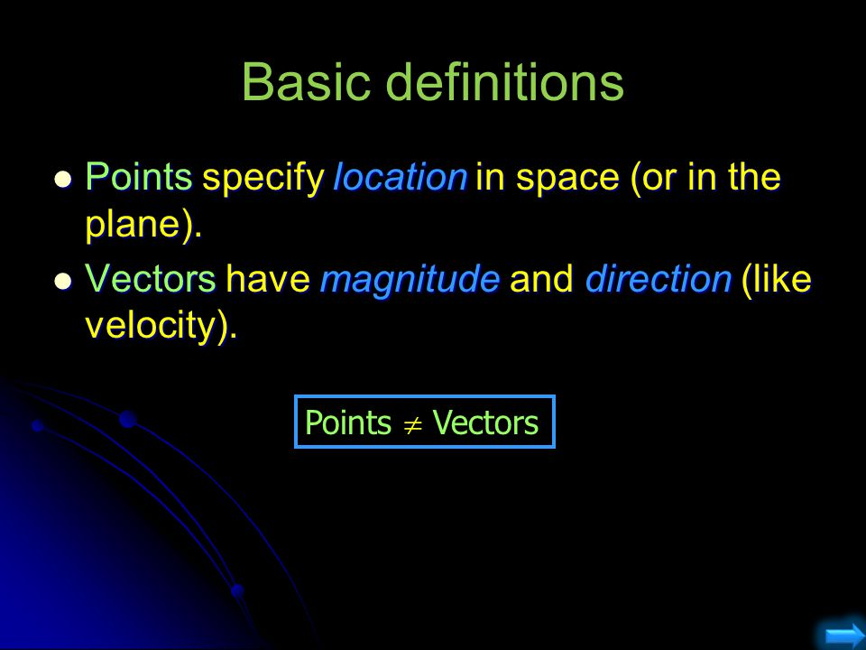 Basic definitions Points specify location in space (or in the plane).