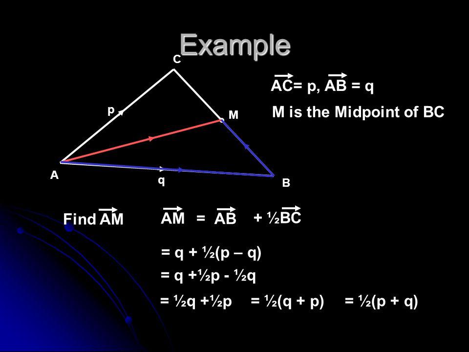 Example A B C p q M M is the Midpoint of BC Find AM AC= p, AB = q = q + ½(p – q) AM + ½BC = AB = q +½p - ½q = ½q +½p= ½(q + p)= ½(p + q)