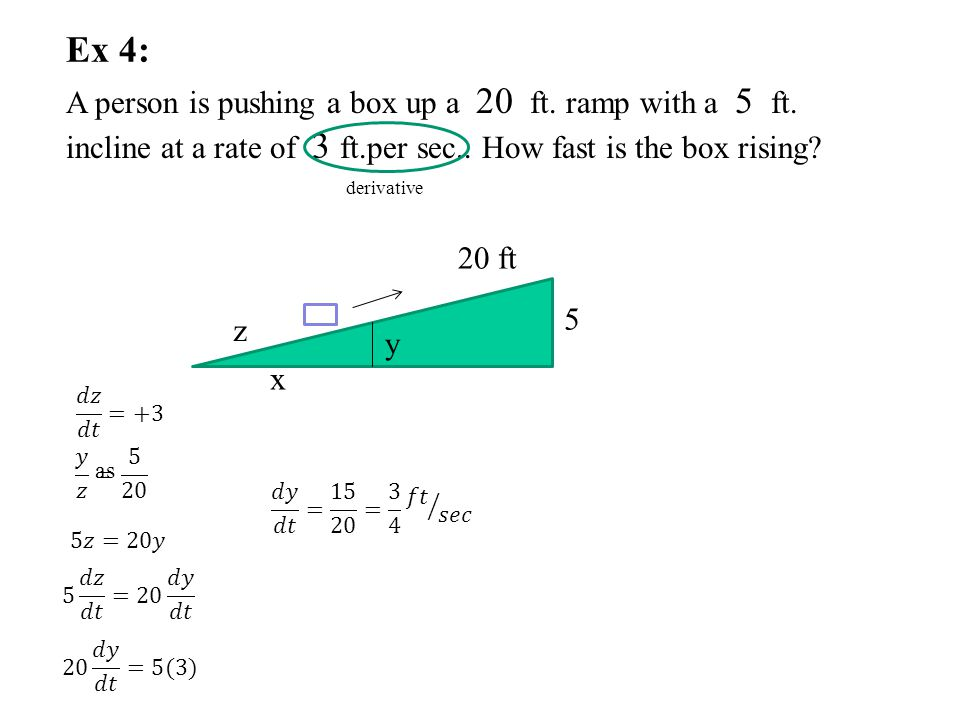 Ex 4: A person is pushing a box up a 20 ft. ramp with a 5 ft. incline at a rate of 3 ft.per sec.. How fast is the box rising? derivative z x y 20 ft 5