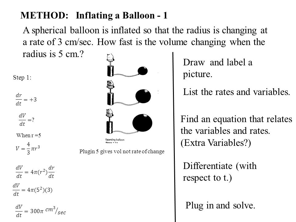 METHOD: Inflating a Balloon - 1 A spherical balloon is inflated so that the radius is changing at a rate of 3 cm/sec. How fast is the volume changing