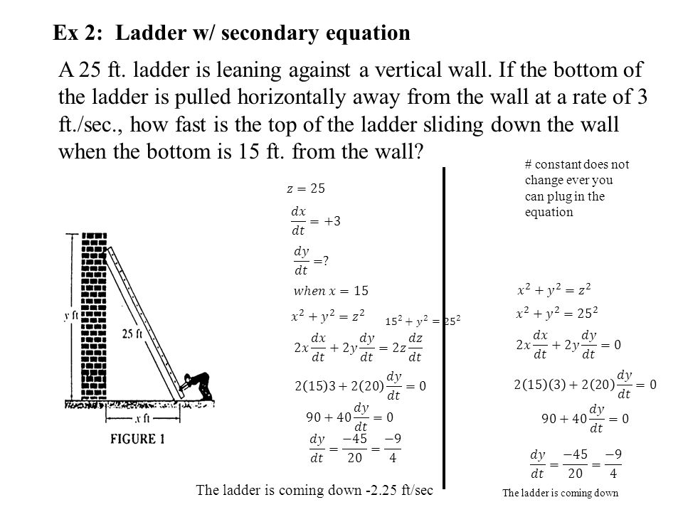 Ex 2: Ladder w/ secondary equation A 25 ft. ladder is leaning against a vertical wall. If the bottom of the ladder is pulled horizontally away from th