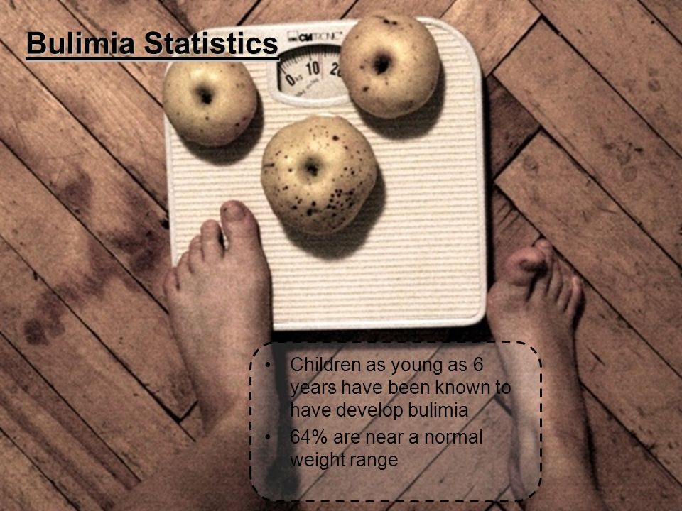 Bulimia Statistics Children as young as 6 years have been known to have develop bulimia 64% are near a normal weight range