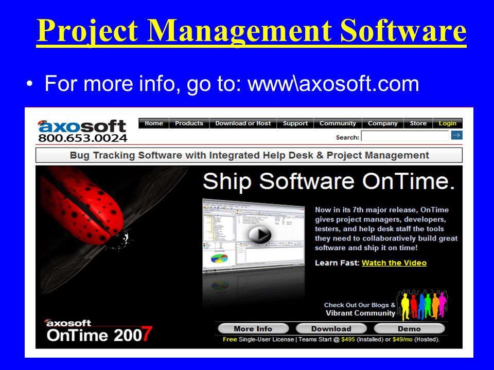 Project Management Software For more info, go to: www\axosoft.com