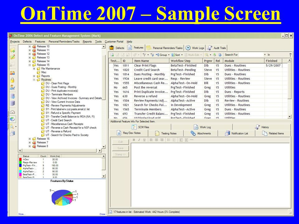 OnTime 2007 – Sample Screen