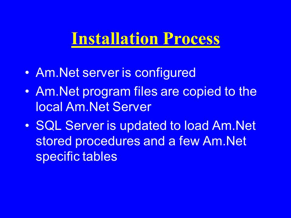 Installation Process Am.Net server is configured Am.Net program files are copied to the local Am.Net Server SQL Server is updated to load Am.Net stored procedures and a few Am.Net specific tables