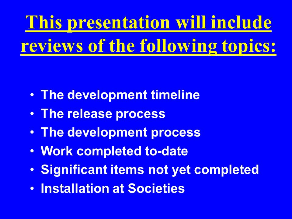 AM.Net Development Timeline What is contained in the timeline.