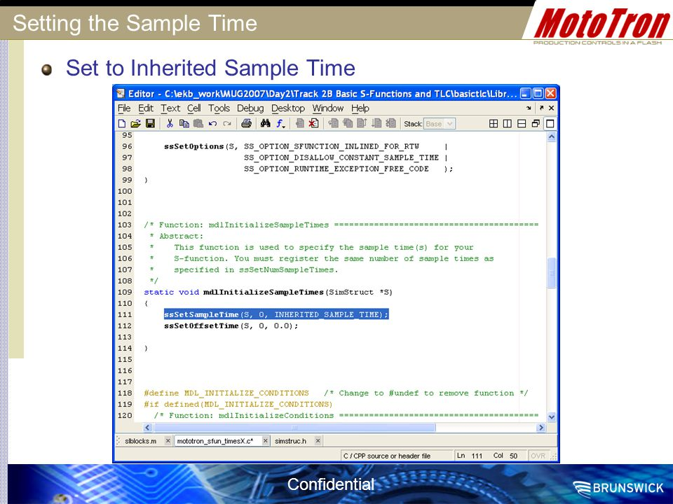 Confidential Setting the Sample Time Set to Inherited Sample Time