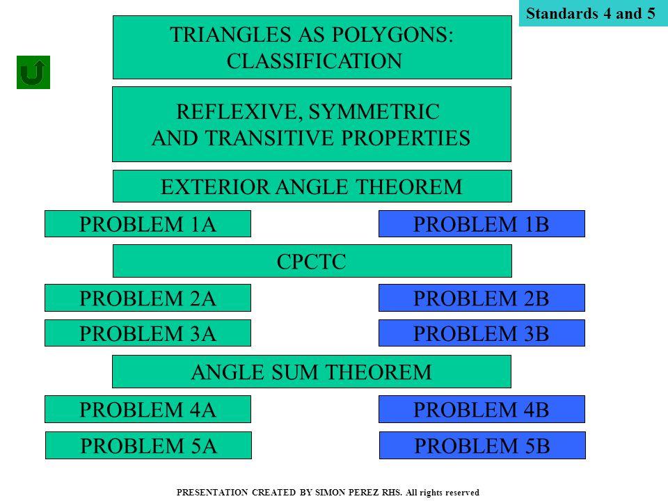 PROBLEM 1A PROBLEM 2A PROBLEM 3A PROBLEM 4A PROBLEM 1B PROBLEM 4B PROBLEM 2B PROBLEM 3B TRIANGLES AS POLYGONS: CLASSIFICATION PRESENTATION CREATED BY SIMON PEREZ RHS.