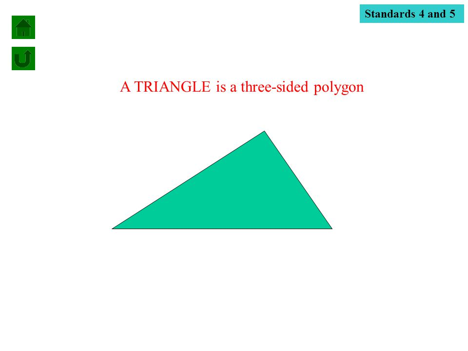 A TRIANGLE is a three-sided polygon Standards 4 and 5