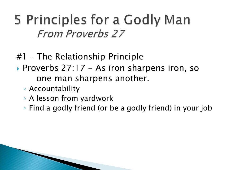 #1 – The Relationship Principle  Proverbs 27:17 - As iron sharpens iron, so one man sharpens another.