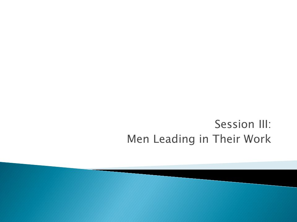 Session III: Men Leading in Their Work