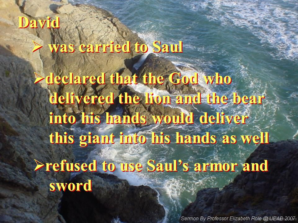 David  was carried to Saul  declared that the God who delivered the lion and the bear into his hands would deliver this giant into his hands as well  declared that the God who delivered the lion and the bear into his hands would deliver this giant into his hands as well  refused to use Saul's armor and sword  refused to use Saul's armor and sword