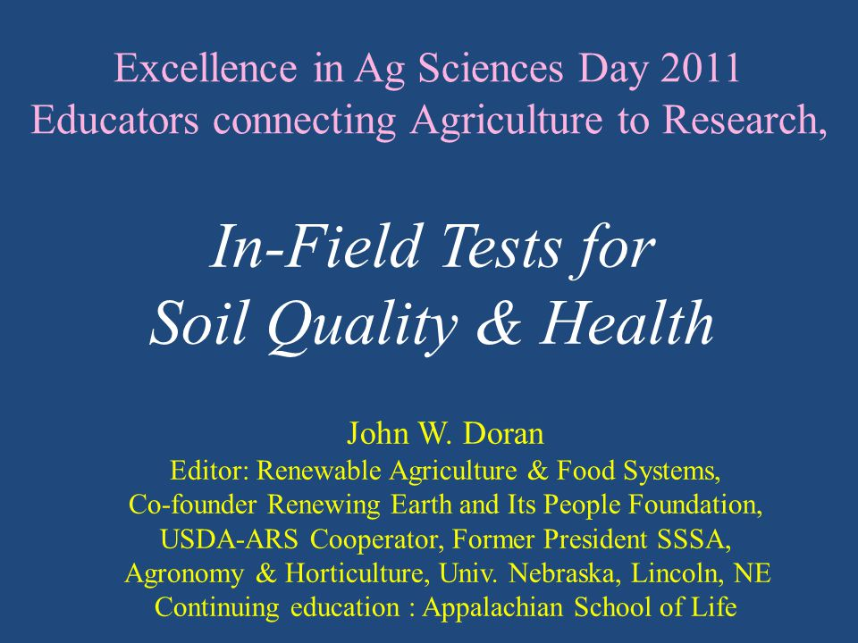 Excellence in Ag Sciences Day 2011 Educators connecting Agriculture to Research, John W.