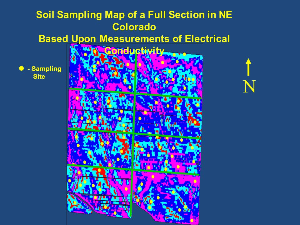 N Soil Sampling Map of a Full Section in NE Colorado Based Upon Measurements of Electrical Conductivity - Sampling Site