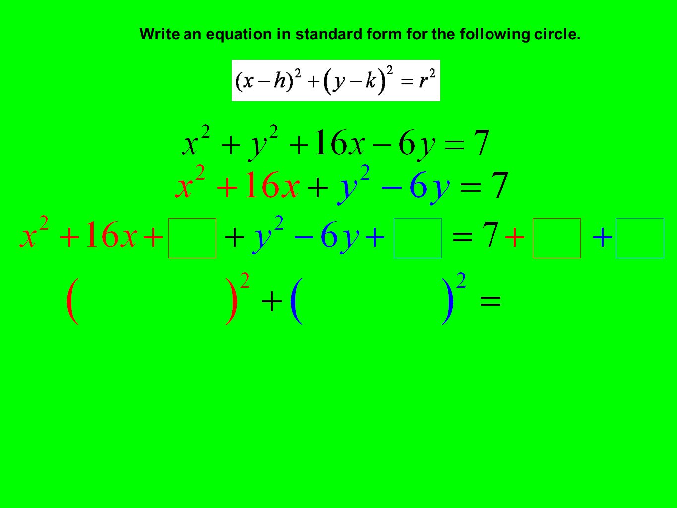 Write an equation in standard form for the following circle.