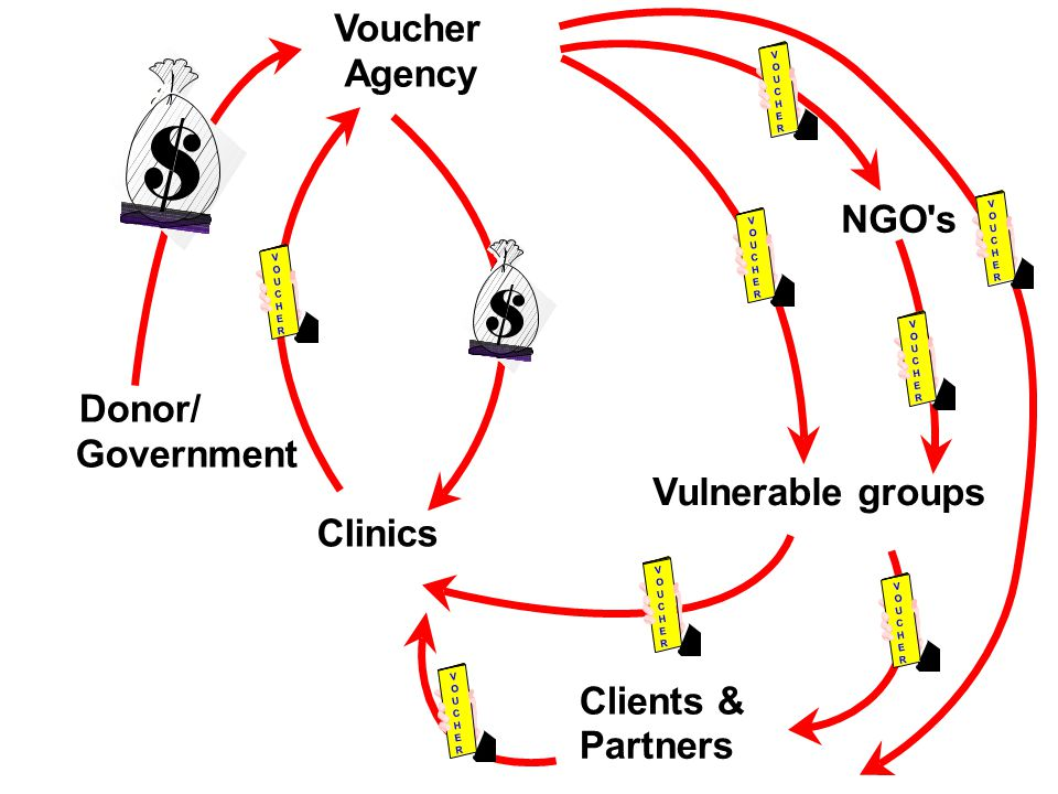Vulnerable groups Clinics Voucher Agency Donor/ Government V O U C H E R V O U C H E R Clients & Partners V O U C H E R V O U C H E R V O U C H E R
