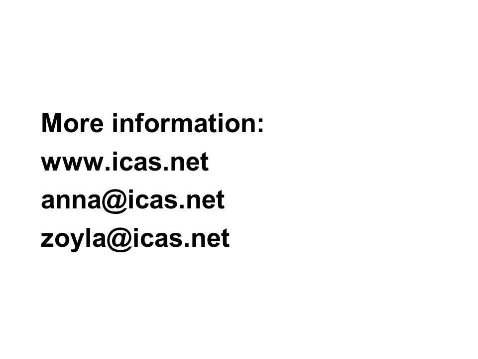 More information: www.icas.net anna@icas.net zoyla@icas.net